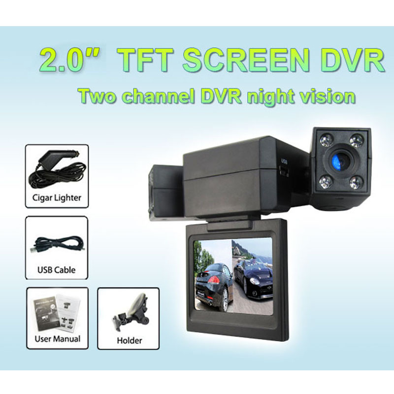 Free shipping latest F3000 2.0 inch dual camera HD car black box,car dvr camear,car video recorder H.264 Compressed format(China (Mainland))