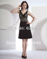 Free Shipping Sexy V-Neck Knee Length Black Lace Bridesmaid Dresses