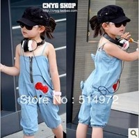 Best selling!! fashion bowknot girls jumpsuit two sides kids rompers baby girl overalls free shipping