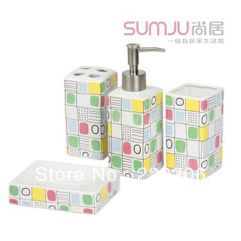 Fashion patchwork bathroom ceramic bathroom set cup bathroom supplies Covered 4 times
