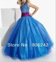Popular Blue Tulle Beading Halter Style Newest Bridal Flower Girl Dress LR-C