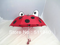 Free shipping!!! Lovely ladybug  pattern kids umbrella, with whistle, red color with black dots