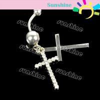 Stainless Steel Double Crystal Cross Dangle Piercing Belly Barbell Navel Ring Retail Free Shipping 6783
