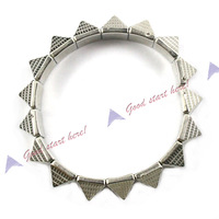 10pcs/lots***Vintage Stretch Gothic Punk Pyramid Triangle Spike Stud Rivet Bangle Bracelet  LKS031