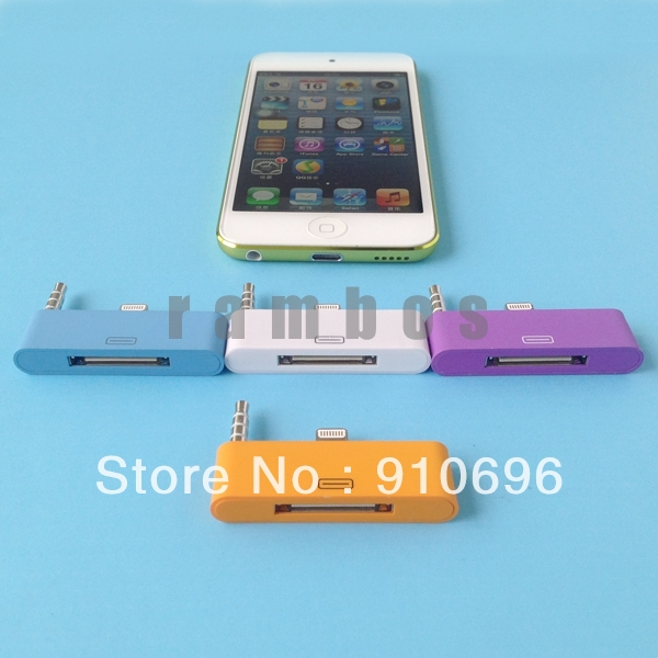 50pcs/lot Portable 8 pin to 30 pin Converter Audio Adapter for iphone 5 for ipod touch 5, free ship(China (Mainland))