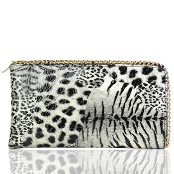 Free Shipping Ladies White Leopard Pattern Seven-shaped Single Zip Long Wallet Clutch Handbag