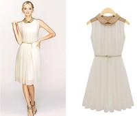 Free Shipping 2013 summer dress NEW lady sleeveless pleated fitted  waist  chiffon fashion dress