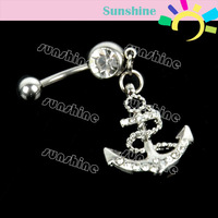 Beautiful Crystal Button Barbell Bar Belly Body Piercing Dangle Anchor Navel Belly  Button Ring Free Shipping 6786