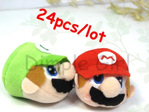 discount red green hat kawaii mini anime figure cell phone plush charm super mario bros pendant fuzzy luigi mobile accessories(China (Mainland))