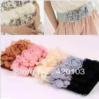 Hot sale Elastic Belt Women Cute Waistband Waist Multicolor Fashion lady's Flower Double Rose Buckle Belt dress decoration #5147