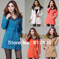 2013 Women's Fashion Girl Slim Winter Hoodie Woolen Coat Jacket Outwear Overcoat 5 Colors With belt free shipping 9468