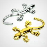 10pcs/lot, 5xGolden and 5xSilver Fashion Style 3D Metal Gekko Badge Emblem Decal Decoration Car Sticker Golden Silver