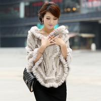 FREE SHIPPINNG!2012 autumn and winter rabbit fur shawl cape coat hooded knit sweater,women fur coat