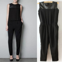 2013z women's fashion sleeveless faux leather PU patchwork chiffon jumpsuit pants jumpsuit
