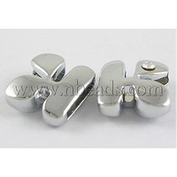 Initial Silde Beads,  Nickel Free Alloy and One Clear Rhinestone Beads,  Letter K,  about 12mm long,  hole: about 8.2x0.8mm