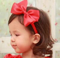Child hair accessory  female child baby hair  red bow headband