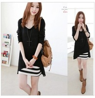 free shipping 2013 spring women  dress twinset chiffon stripe vest e long-sleeve sweet