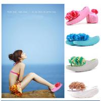 Fashion flower platform shoes summer flip flops sandals slippers shoes women's rollaround