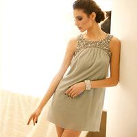 2013 summer luxury all-match handmade flower sequin diamond sleeveless tank dress one-piece dress formal dress women's