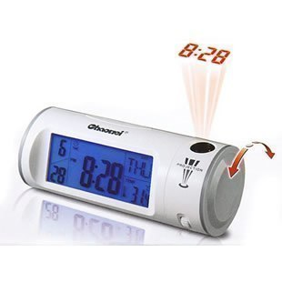 Free Shipping 8097 acoustic control projection clock induction projection clock grey white Drop Shipping with retail Packing(China (Mainland))
