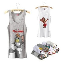 Free shipping 2013  new fashion 100% cotton women tank tops cute cat&mouse MICKY women vest  p872 of