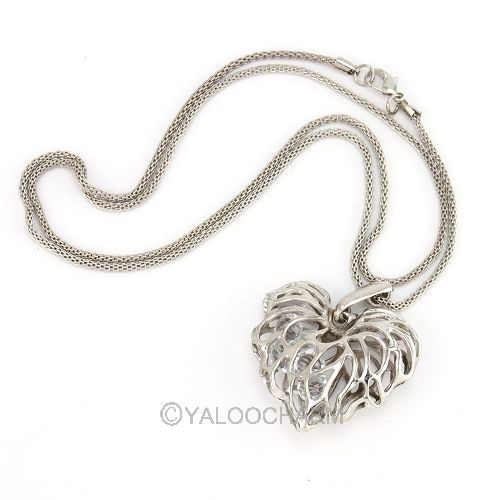 4pcs Fashion Silver Hollow Heart Love Pendant Rhinestone Chain Coat Necklace 60283(China (Mainland))