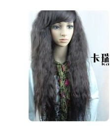 2013 charming popular new black curly long women&#39;s wig+ free weaving cap(China (Mainland))