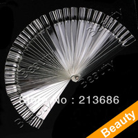 50 False Nail Art Board Tips Stick Polish Foldable Display Practice Transparent Fan Clear  3089