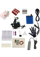 Free shipping Cheap beginner Complete Tattoo Kit Machine Black Ink Power Pedal Needles Grip
