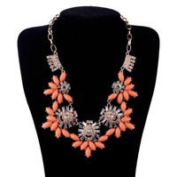 Free shipping Top Fashin Coral Flower Bib Statement Necklace