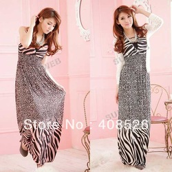 Women's Nice Slim Zebra-stripe High Waist V neck Maxi Beach Long Dress 2colors free shipping 11413(China (Mainland))