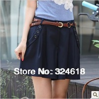 Summer new fashion pantskirt South Korea style casual pants skirt woman A-line skirt hot pants fashion culotte with the belt