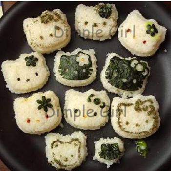 kitti kawaii novelty item kitchen accessory set as seen on tv new products plastic rice hello kitty sushi mold maker tool bento