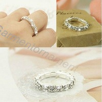 (Min.$10-mix order)  3colors silver plated  single row cup chain rhinestone crystal pronged bling stretch finger ring