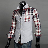 Free Shipping 2013 NEW The Slim Men lattice stitching long-sleeve shirt Red,Green Size M-L-XL-XXL Wholesale and retail