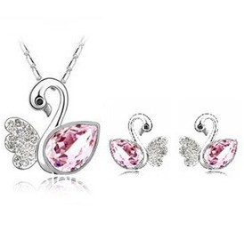 free shipping sets jewelry wholesale-Crystal Stud Earrings + Necklace Set Dream Swan Lake multicolor selection(China (Mainland))