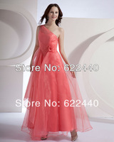 Free shipping!2013 Newest Design Beautiful Chiffon Flower Pleated One Shoulder Floor Length Bridesmaid Dresses