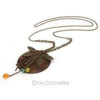 5pcs Antique Bronze Gold Tone Enamel Rhinestone Retro Log dragonfly sweater chain Pendants Necklace 60331