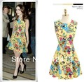 hot-selling new style women Euro print boutique sleeveless dress, fashion slim women vest dress M,L