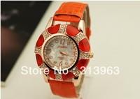 DDT076 Hot watch fashion watch orange PU band watch lady clock