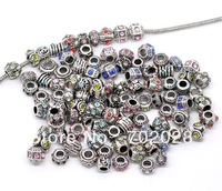 Mixed Rhinestone Spacer Beads Fit Charm Bracelet 100pcs