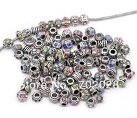 Mixed Rhinestone Spacer Beads Fit Charm Bracelet 100pcs