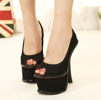 2013 new sexy European and American waterproof high-heeled thick with fish mouth single shoes nightclub+free shipping