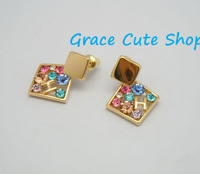 Colorful Stud Earrings Famous Branded Jewelry Free Shipping High Quality Gift Package (Dust Bag,Gift Box)#HR05