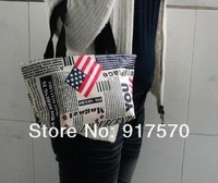 Wholesale Fashion Women's Newspaper Prints Hot Trendy Shoulder Bag Handbag Purse Messenger Bags  Free Shipping