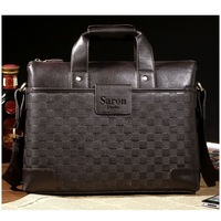 2013 New Men's Saron Cow Genuine Leather Totes Plaid Messenger Bags Handbags Briefcases Free Shipping