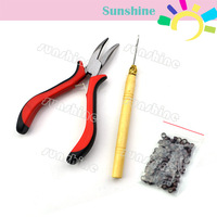 Hair Extensions Tool Kit Pliers Hook Needle+100Pcs Micro Silicone Link Beads Wholesale&Retail Free Shipping 2432