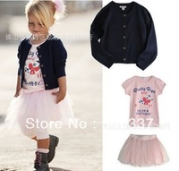Wholesale and retail  5 sets / lot girls suits Cardigan outerwear+ short sleeve printing T-shirt +Tutu dress suits