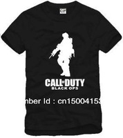 Free Shipping Chinese Size S---XXXL 2014 fashion call of duty solider print t shirt game t shirt 6 color 100% cotton
