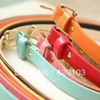 9 colors ladies cheap skinny belt women candy colors Fluorescent Fashion thin Belts 110cm length 10pcs/lot free shipping #5158
